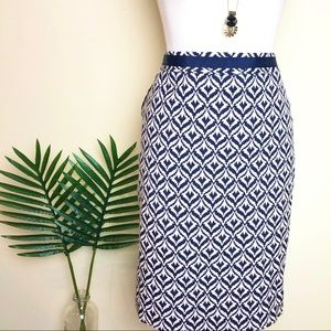 The limited navy and white printed skirt
